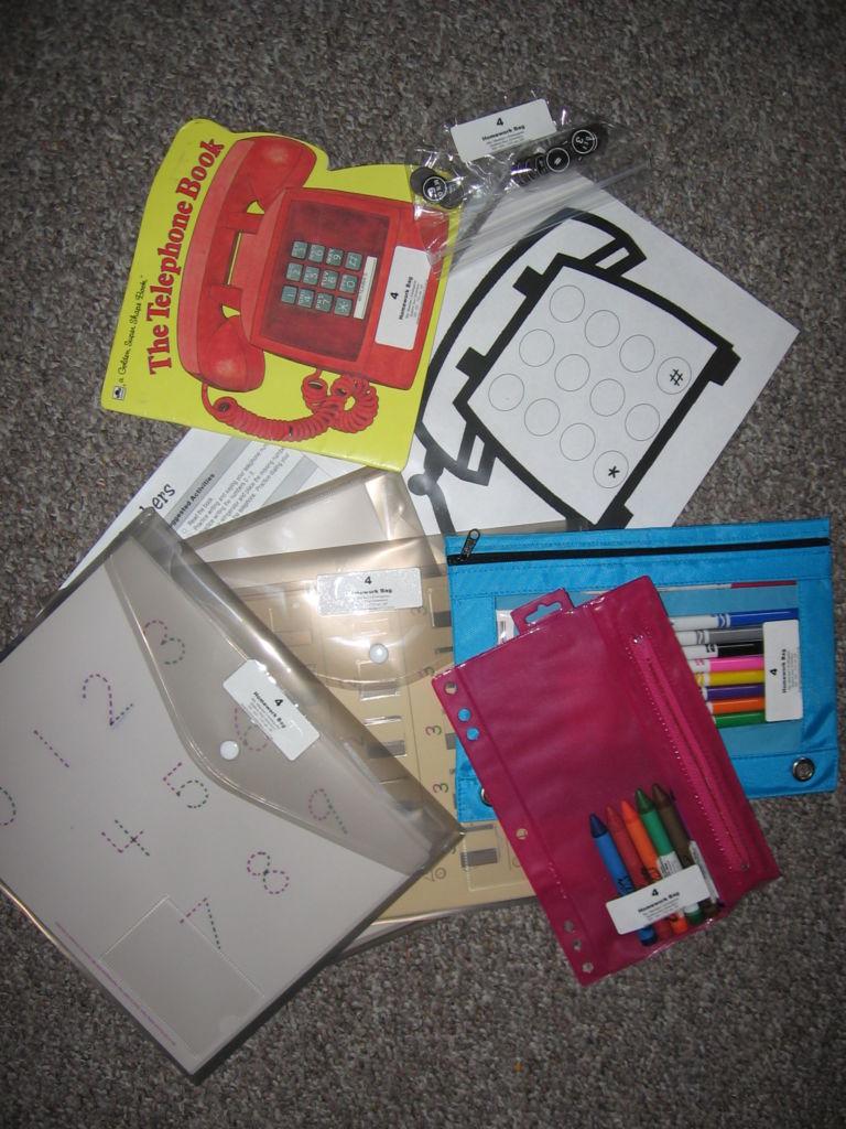 Numbers Homework Bag